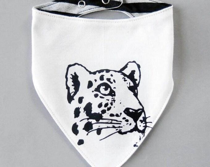 Reversible Leopard Baby Bib - Unisex Stripes Alternative Tattoo Big Cat Boys Dribble Cloth Patch