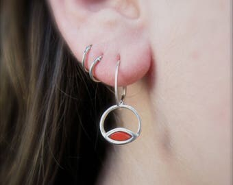Red and Turquoise Intersect Earrings - Reversible Silver and Enamel Lever Back Earrings