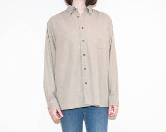 on sale - 00s beige Lacoste button-up / unisex sand herringbone shirt / size L / XL