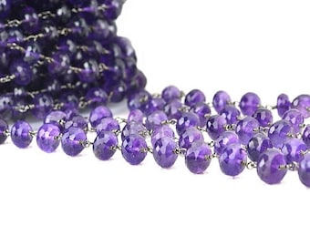 40% HOLIDAY SALE One foot Amethyst beads rosary chain, 8-9mm Black Plated wire wrapped link ...