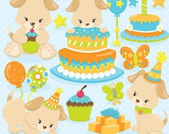 80% OFF SALE Puppy Birthday clipart, clipart commercial use, vector graphics, digital clip art, digital images - CL840