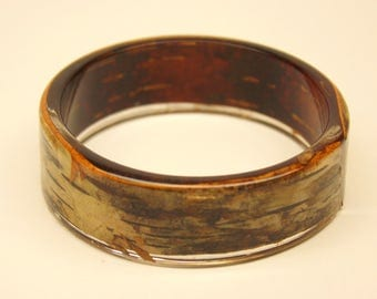 Birch bark bracelet, transparent bracelet, resin and birch bark bracelet, bark bracelet, botanical bracelet, made in Canada