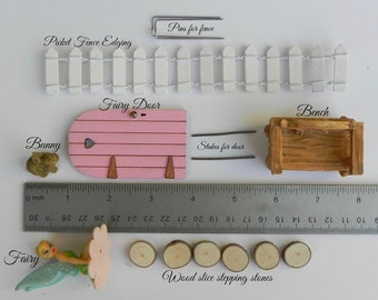 Fairy Garden Kit, DIY fairy garden, fairy garden starter kit, FAIRY DOOR + Key, fairy, bench stepping stones bunny white picket edging fence