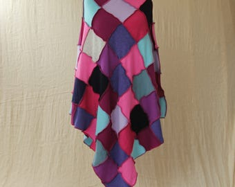 Upcycled Patchwork Poncho. Recycled Wool Knitwear. Cowl Neck. Ex Large Plus Size. Pink Purple Plum Blue. Handmade UK. OOAK. Ethical Clothing
