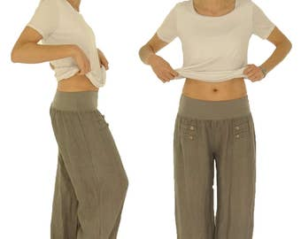 HF400TP42 pants Gr. L linen layered look size 42/44 taupe pants Alibabahose harem-pants