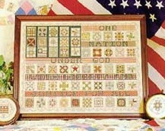 Cross Stitch Pattern - American Flag Quilt Sampler