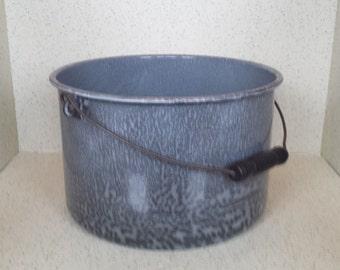 Large Gray Granite Bucket Wood Handle