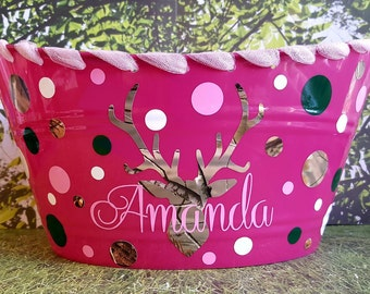 Easter Basket, Plastic Toy Bin, Personalized, Camo Deer with Ribbon Accent