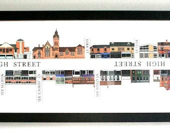 Harborne High Street Illustration