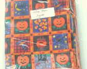 Orange and Black Halloween Fabric with Pumpkins, Candy Corn, Black Cats, and Bats. More Than 3