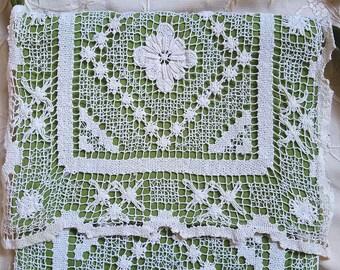 Sweet Upcycled Filet lace table runner lace messenger bag purse bohemian hippie mori boho festival hobo velvet crossbody