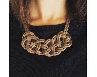 Celtic Knot Paracord Brown Moka Necklace
