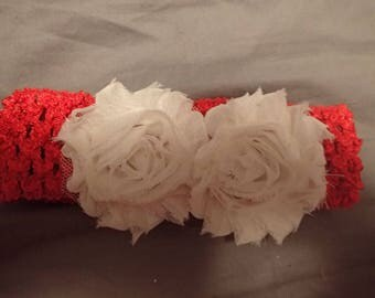 Shabby Chic Rose Crochet Soft, Wide Elastic Headband fits Newborns through Adults Red with Off White Roses