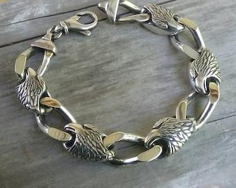 eagle link heavy sterling silver braclet