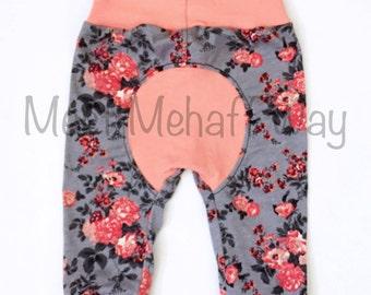 Floral Joggers -- Bum Circle Pants -- Baby Pants -- Newborn to 18-24 Mo -- Cloth Diaper Pants