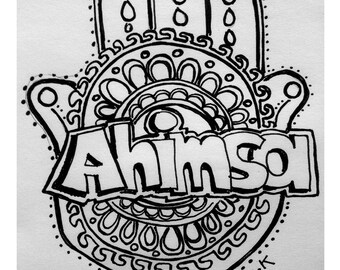"Ahima 7"" x 5"" postcard that can be colored!"