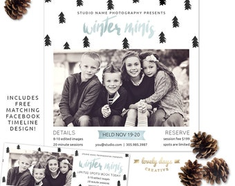 Winter Mini Christmas Holiday mini Session Template INSTANT DOWNLOAD