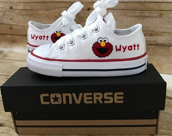 Elmo Shoes - personalized chuck taylors - customized converse - Sesame Street - Birthday swag low top converse