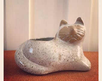 David Stewart Lion's Valley Pottery Cat Planter.