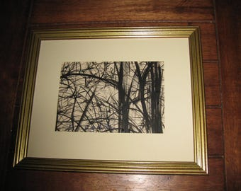 "Conchetta Del La Ray 1970 Pen and Ink Drawing Black and White Drawing Trees And Branches In Goldtone Frame 9"" x 11 """