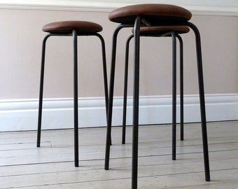 Set of Three Danish Industrial Counter Stools (1960s)