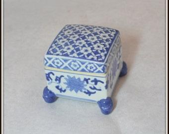 Vintage Blue & White Trinket Box