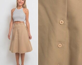 Beige skirt vintage 70s HIGH WAIST skirt button up skirt button front skirt tan skirt MIDI skirt circle skirt pocket skirt