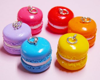 Macaron Necklace - handmade, food, miniature, rainbow, cute, french, macaroon, rainbow, colourful