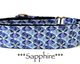 Martingale Dog Collar, Dog Collar, Blue Martingale Dog Collar, Buckle Dog Collar, Blue Dog Collar, Geometric, Sapphire