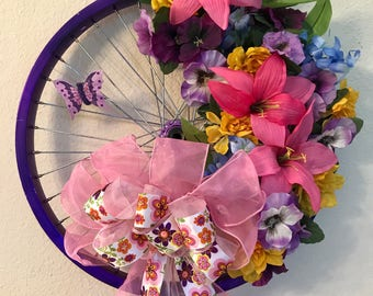 Spring Floral Bicycle Wheel Wreath with Butterfly