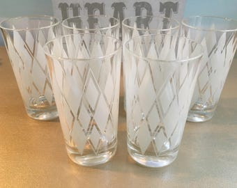 Set of 6 Mid Century White Harlequin Diamond Argyle Drinking Glasses