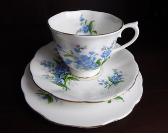 Vintage Royal Albert Forget-Me-Not TRIO Teacup and Saucer Circa 1958-87