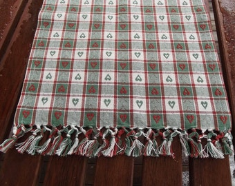Vintage table runner. Woven Checkered Cotton Table Runner. Checkered tablecloth. Swedish Vintage 1970s.