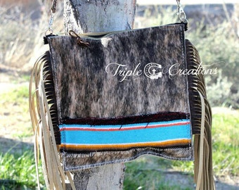 Brindle Cowhide and Serape Crossbody Bag with Fringe and Zipper **SALE