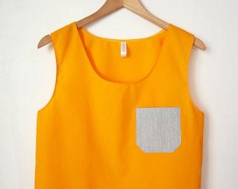 Sun yellow tank top crop top front pocket