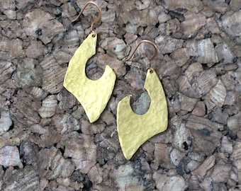 Afrocentric Jewelry - Hammered Brass Earrings