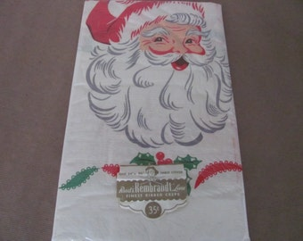 Vintage Christmas Tablecloths, 1960's Reed's Paper Tablecloths, Reed's Santa Tablecloths, 1960s Christmas Decor, Decoration, Retro Christmas