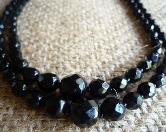 1960's black glass bead choker necklace