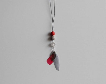 Dream catcher necklace Red