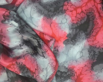 Silk scarf long hand painted - red black grey