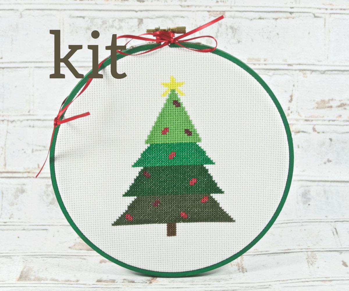 PLETE KIT Christmas Tree Cross Stitch DIY Craft Kit