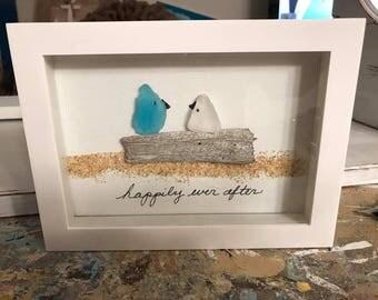 Sea Glass Art Beach Glass Art Wedding Engagement Anniversary Shadow Box