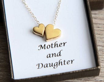 Mother Daughter Necklace, Mother Daughter gift, Mothers Day Gift, Gold Heart Necklace, Heart Necklace, Double Heart Necklace, Heart Jewelry