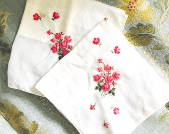 Vintage Set of Two Floral Embroidered Handkerchiefs