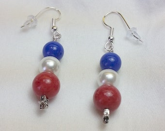 All American Red white and Blue Earrings