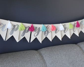 Happy Birthday Pennant Banner | Birthday Banner | Occasion Decor | Canvas Pennant | Wall Decor | FREE SHIPPING