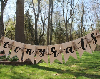 Congrats Pennant Banner | Wedding Banner | Graduation Banner | Congratulations Decor | Canvas Pennant | Wall decor | FREE SHIPPING