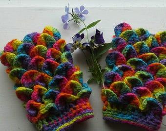 rainbow chunky fingerless gloves/ crochet rainbow dragon scale arm warmers