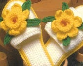 Annie's Attic Soft Step Floral Slippers Crochet Pattern For Slipper Patricia Hall Hibiscus Gardenia Pansy Star Flower Daffodil Stitch Guide