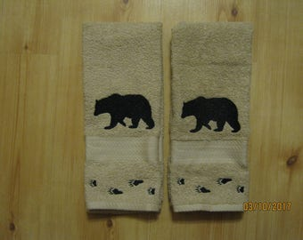 New 2 Silhouette Black Bear with Tracks Tan Hand Towels, Lodge Cabin Decor, Northwoods